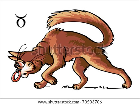 The humour zodiacal sign represented by means of image of cat
