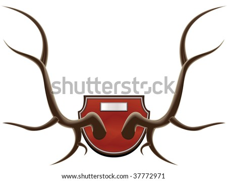The hunting trophy - horns of a deer in a vector isolated