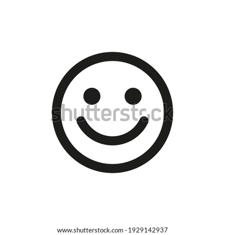 The icon of a person's smile.  A smile, a human laugh. Simple linear flat illustration on a white background.