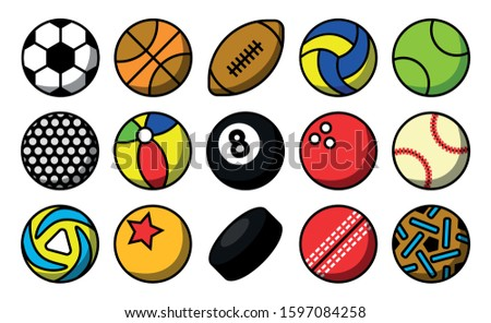 The icon of all kinds of balls in sports