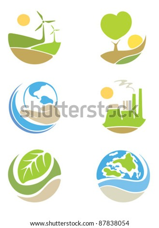 "The icons on the theme ""ecology"""