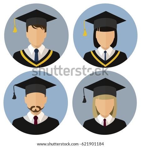 The icons set. Student, student. Avatar. A man and a woman. The medallion. Stock vector.