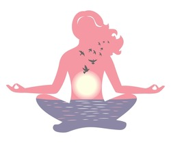 the illustration dedicated to the meditation and sunset.