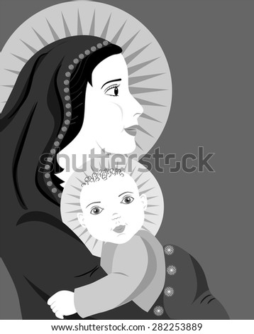 the illustration dedicated to the mother and child.