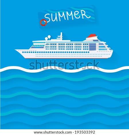 The illustration of cruise ship. Vector image.