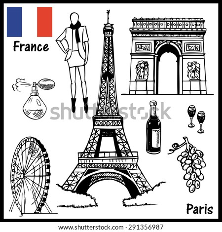 The illustration on the theme of Paris France attractions: people, architecture, culture