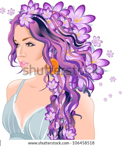 illustration shows a beautiful young woman with flowers in her hair ...