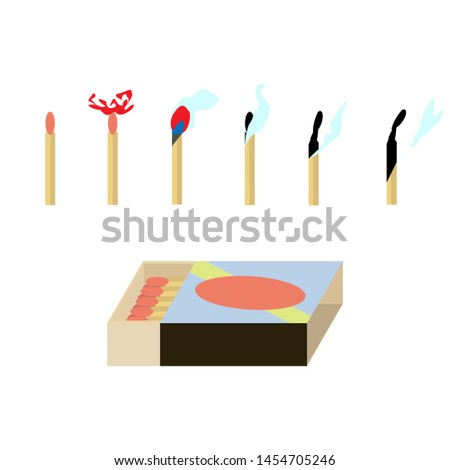 the illustration shows burning matches and a box with matches.