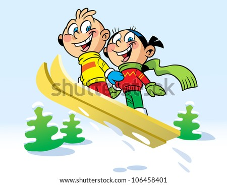 The illustration shows the funny boy and girl. They ride with snow hill on a ski. Illustration done in cartoon style.