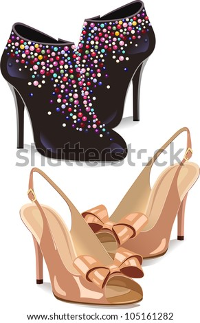 The illustration shows two types of shoes. Black shoes with decorations and beige sandals.