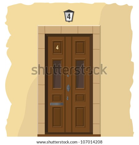 The illustration with an wooden front door and part of wall