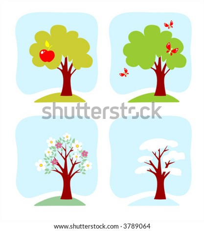 The image of an apple-tree at various times year.