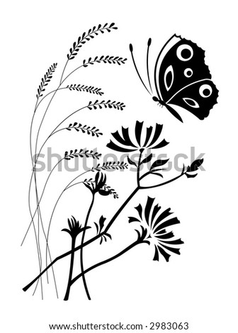 The image of the butterfly on a background of flowers