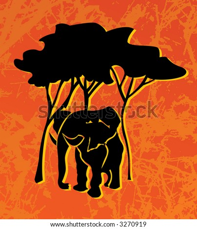 The image of the elephant on grunge a background. A vector illustration.