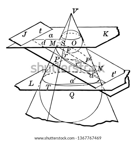 The image shows a cone that shows its conical sections. Each section labeled with a letter of the alphabet. Cone cut by several planes to represent the conic sections as a circle, ellipse, vintage
