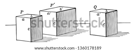 The image shows 3 parallel rectangular prisms. In a rectangular cuboid, all angles are right angles, and the opposite sides of a cuboid are equal, vintage line drawing or engraving illustration.