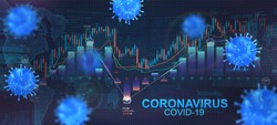 The impact of coronavirus on the stock exchange and the global economy. Economic fallout, markets plunging because of the coronavirus, Covid-19 that flies among the graphs. Vector illustration