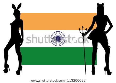 The India flag with silhouettes of women in sexy costumes
