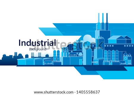 The industrial plant and manufacture building background. Vector illustration of abstract industry landscape