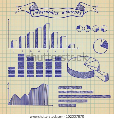 The infographics elements sketch on old sheet of a paper