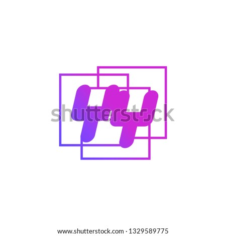 The initials Y and Y colored gradient combination of blue and pink. YY vector design logo