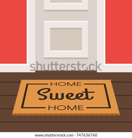 The inscription home Sweet Home on the Mat doormat before a door. Vector illustration in trendy flat style