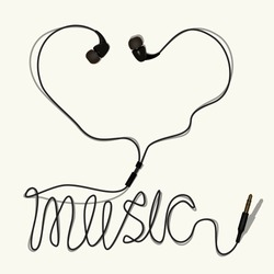 The inscription-I love music (headphones). The image to be printed on a t-shirt, clothing...