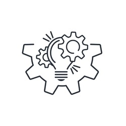 The interaction of a light bulb and gears. Improving functionality opportunity. Modernization technical capabilities.Vector linear icon isolated on white background.