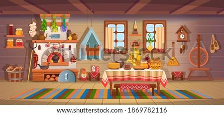 The interior of an old Russian hut with old baby cradle, russian stove, spindle, samovar, dry herbs,balalaika, matryoshka, bast shoes, jam, wooden bucket, windows, door.Old kitchen interior.Сartoon