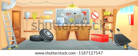 The interior of the garage. Workplace of the master on car repair with working tools. Vector cartoon illustration 商業照片 ©