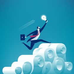 The inventor overcoming the paper mountain. Concept business vector illustration