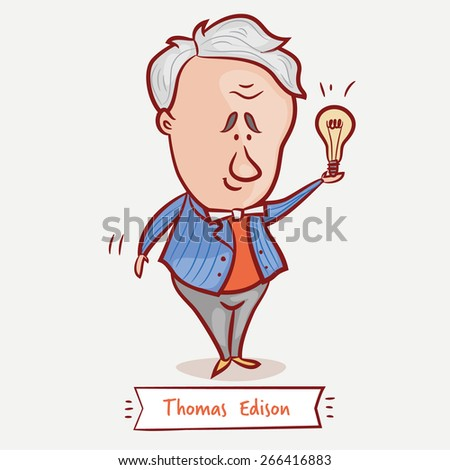 The inventor Thomas Edison with a bulb  in a blue jacket.