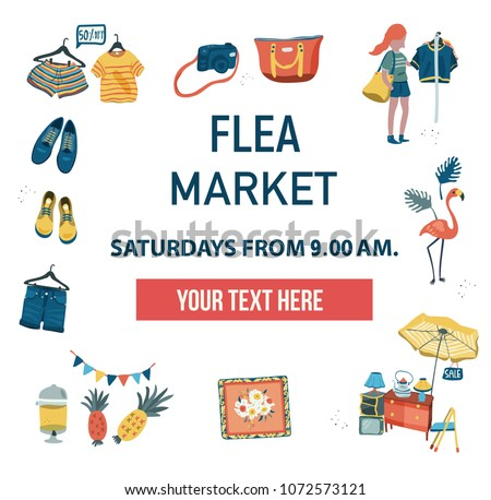 The invitation poster to visit the market fair like flea market, weekend market, or night market, can be used for advertising, colorful doodle flat style on white background, illustration, vector