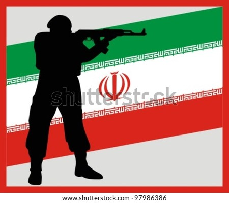 The iranian soldier against a flag
