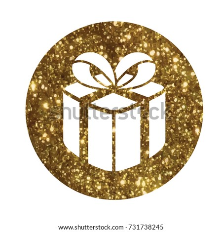 The isolated glitter golden holiday gift box icon #731738245