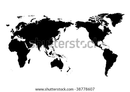 The isolated one color world map - stock vector