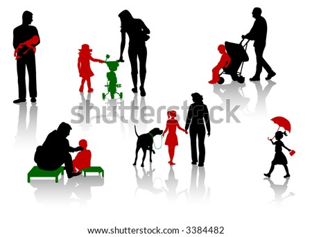 The isolated silhouettes of parents with children.
