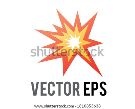 The isolated vector cartoon-styled red, yellow fiery burst collision star emoji icon  Stock photo ©