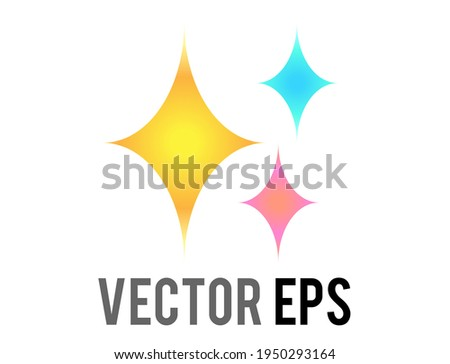 The isolated vector glittering flashes of sparkles, yellow four-point stars icon, indicate love, happiness; beauty, gratitude and excitement