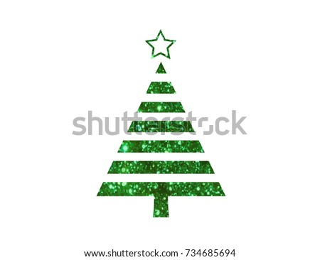 The isolated vector green glitter Christmas tree flat icon #734685694