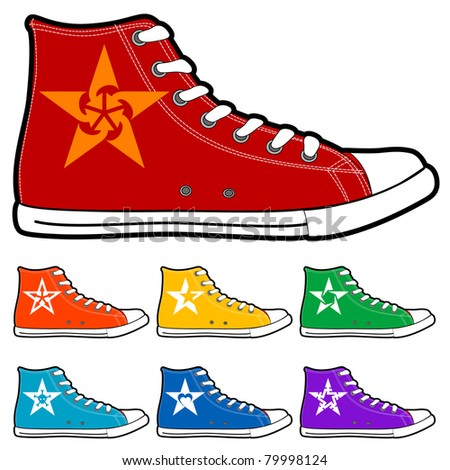 The isolated vector modern color sneakers, illustration