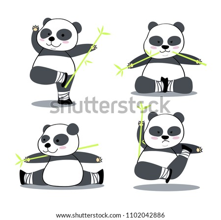 The Isolated Vector Set of Chinese Panda Cartoon Character in Kung Fu Actions.