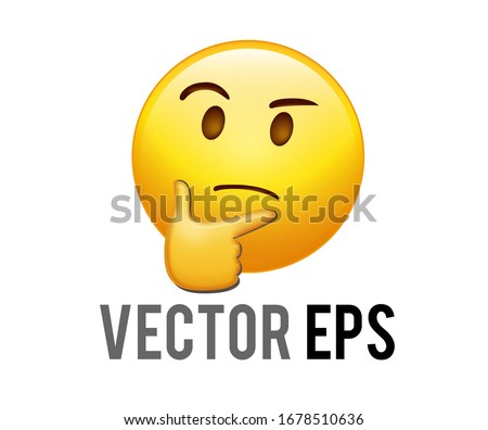 The isolated vector yellow pondering, thinking or deep in thought face emoji icon with index finger resting on its chin