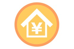 The Japanese yen symbol is written on the housing. Vector illustration.