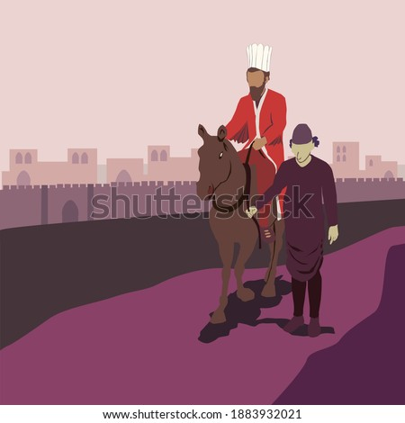 The Jew Mordechai rides a horse, and the evil Haman drags him. A scene from the Book of Esther called on the Jewish holiday - Purim. A man dressed in a robe and crown sits and the other holds the rope Foto stock ©