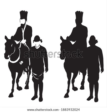 The Jew Mordechai rides a horse, and the evil Haman drags him. A scene from the Book of Esther called on the Jewish holiday - Purim. Black vector silhouette on a white background Foto stock ©