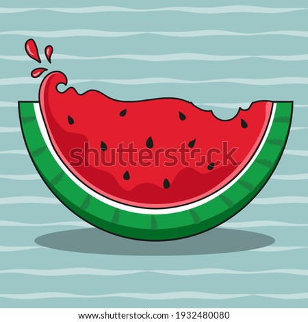 The juicy summer watermelon wedge has been bitten a little. Against the background of a pattern of jagged lines. Vector icon in cartoon style. ストックフォト ©