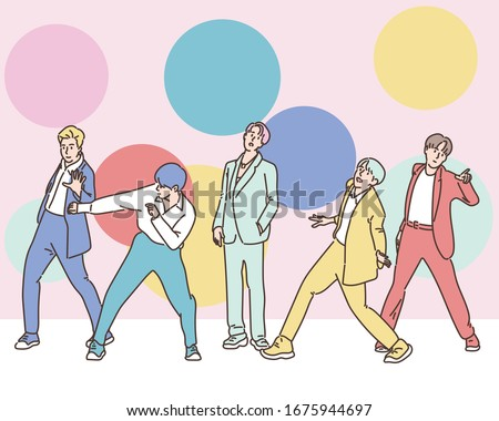 The k pop boy group on the stage poses variously. hand drawn style vector design illustrations.  Stok fotoğraf ©