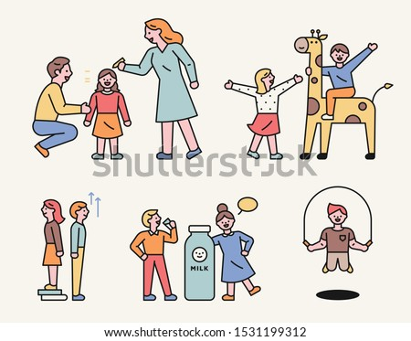 The key material is a child, a child on a giraffe, a child who is tall, a milk-eater and a skipping rope. Childhood characters. flat design style minimal vector illustration.