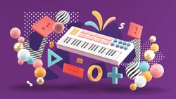 The keyboard is surrounded by tape and graphics on the purple background.